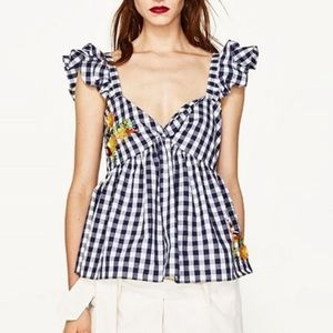 Zara navy gingham sequined flutter top - M NWT